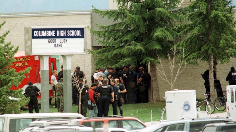 1999: Police outside Columbine High School in Littleton, Colorado, following the shooting