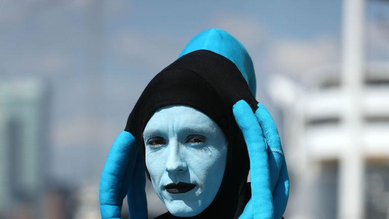 Henry White from Mansfield arrives dressed as Diva Plavalaguna from the Fifth Element during the first day of MCM Comic Con at the ExCel London in Canning Town, east London. PRESS ASSOCIATION Photo. Picture date: Friday May 24, 2019. Photo credit should read: Jonathan Brady/PA Wire