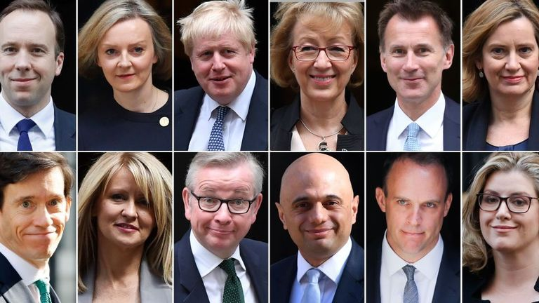 From top left to bottom right: Matt Hancock, Liz Truss, Boris Johnson, Andrea Leadsom, Rory Stewart, Esther McVey, Michael Gove, Sajid Javid could all run to be the next prime minister