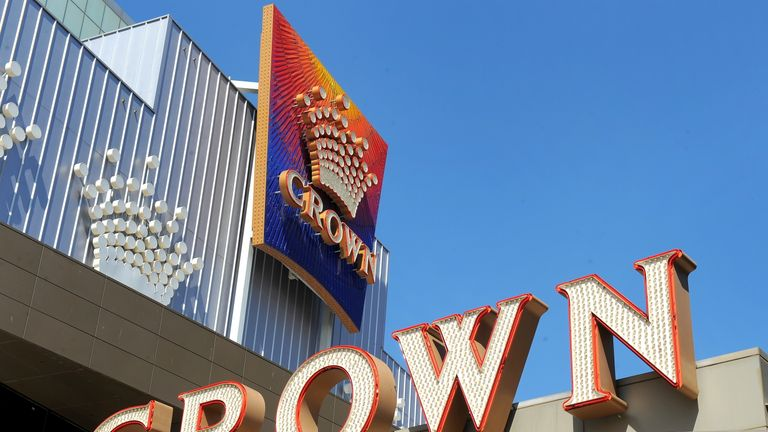 Crown Casino signs are displayed as Crown Ltd report they have moved back into the black with a net profit in their half-year results after solid growth in its Australian casinos, in Melbourne on February 26, 2010