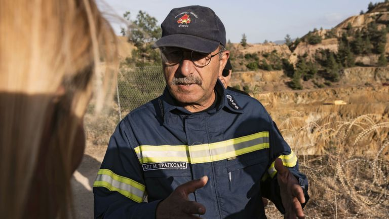 Cyprus fire chief Marcos Trangolas at the acidic Red Lake near the village of Mitsero