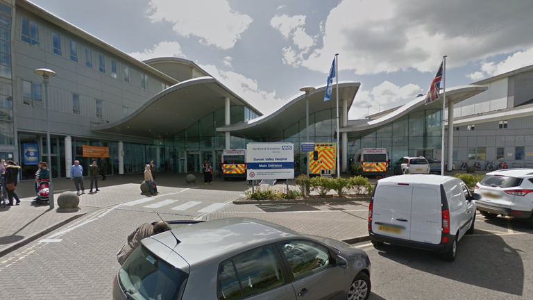 The newborn was found abandoned outside the entrance to Darent Valley Hospital