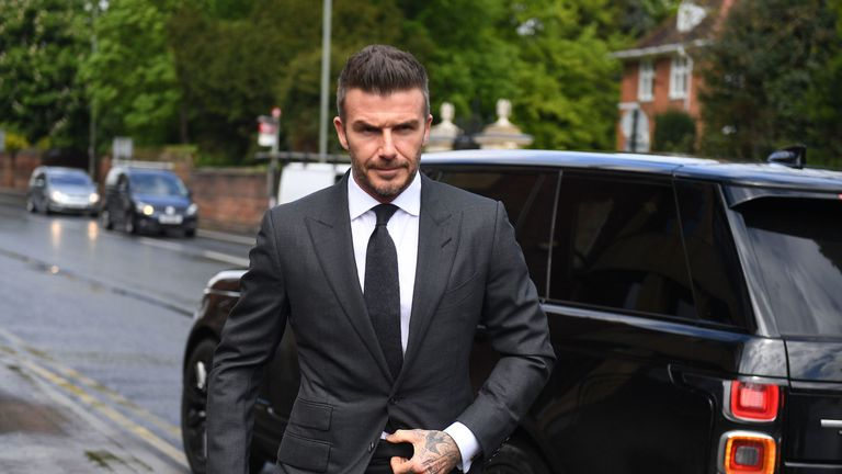 David Beckham arriving at Bromley Magistrates Court in south east London