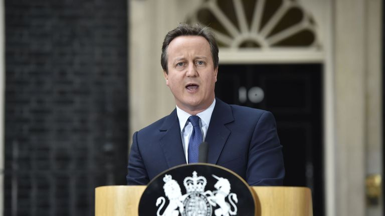 David Cameron makes a speech outside 10 Downing Street in London, before leaving for Buckingham Palace for an audience with Queen Elizabeth II to formally resign as Prime Minister.