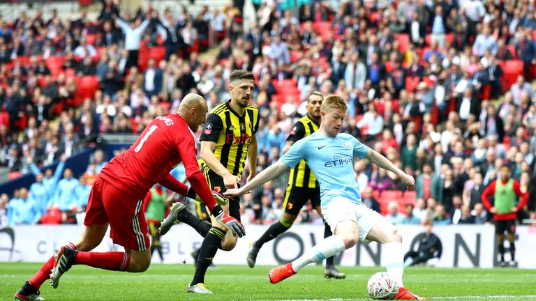 Kevin De Bruyne scores the third goal at Wembley