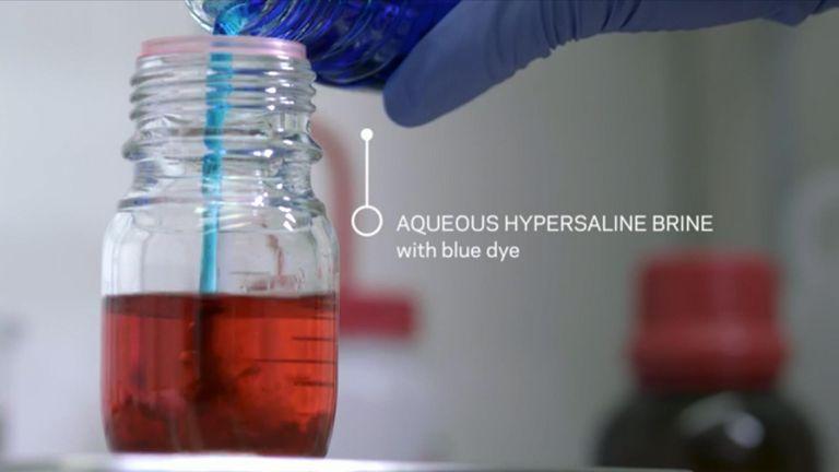 Hypersaline brine. Pic: Jane Nisselson/Columbia Engineering