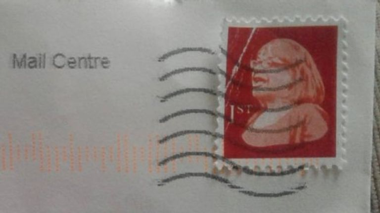 One of the stamps appeared to be franked
