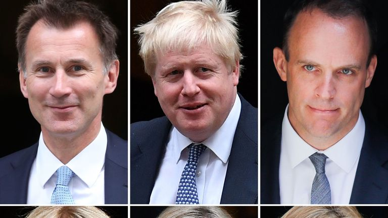 A combination of pictures created in London on May 17, 2019 shows declared and potential contenders in any upcoming Conservative Party leadership contest: (top L-R) Britain's Foreign Secretary Jeremy Hunt, former foreign secretary Boris Johnson, former Brexit secretary Dominic Raab (second top L-R) former work and pensions secretary Esther McVey, Britain's Chief Secretary to the Treasury Liz Truss, Britain's Work and Pensions Secretary Amber Rudd