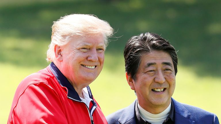Donald Trump enjoyed a round of golf with Japan's leader Shinzo Abe