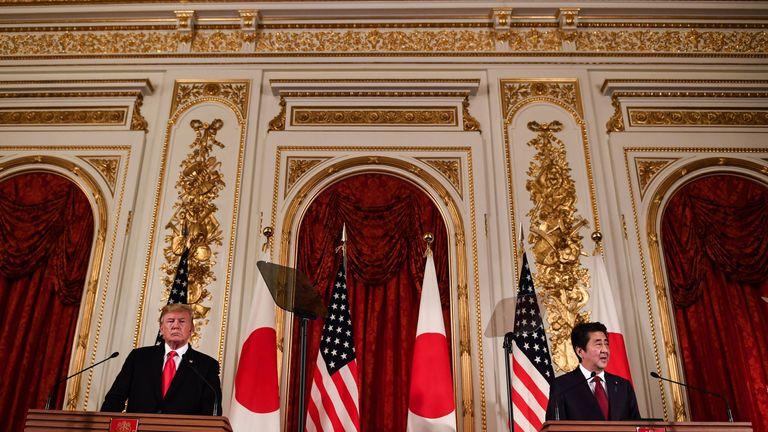 Donald Trump and Japan's Prime Minister, Shinzo Abe