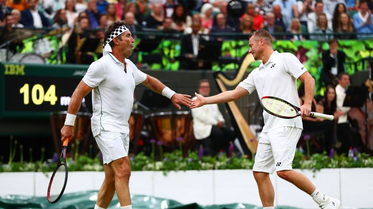 Lleyton Hewitt and Pat Cash were paired together for the gentlemen's doubles