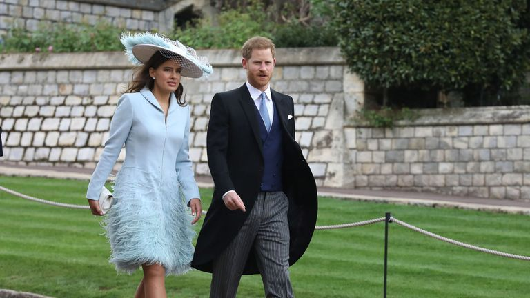Lady Frederick Windsor and the Duke of Sussex arrive ahead of the wedding of Lady Gabriella Windsor and Thomas Kingston at St George's Chapel in Windsor Castle