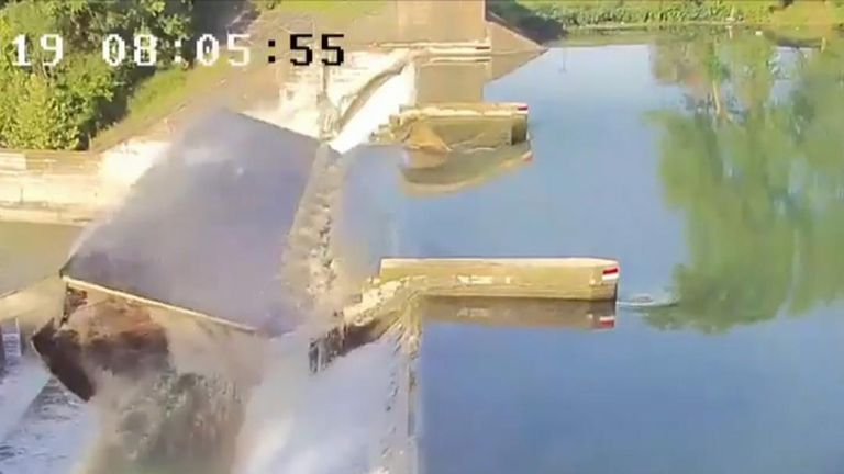 Dunlap Dam in Texas is breached as middle gate gives way