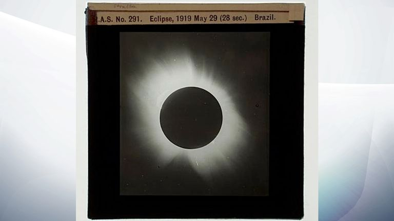 Photograph of slide showing the eclipse on 29 May 1919, 28 seconds. Pic: Royal Astronomical Society