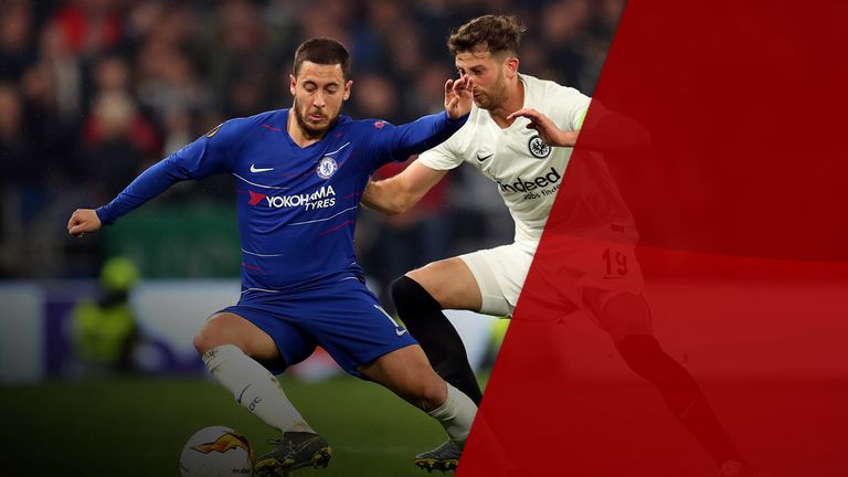 Eden Hazard tries to lose his man against Frankfurt in the Europa League