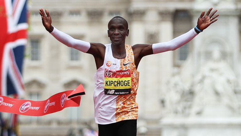Eliud Kipchoge winning the men's elite race in the London Marathon last month