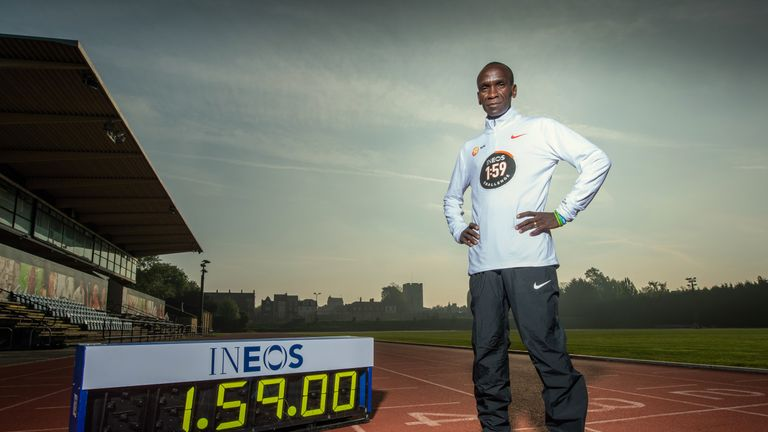 Eliud Kipchoge at the Iffley Road Sports Complex in Oxford