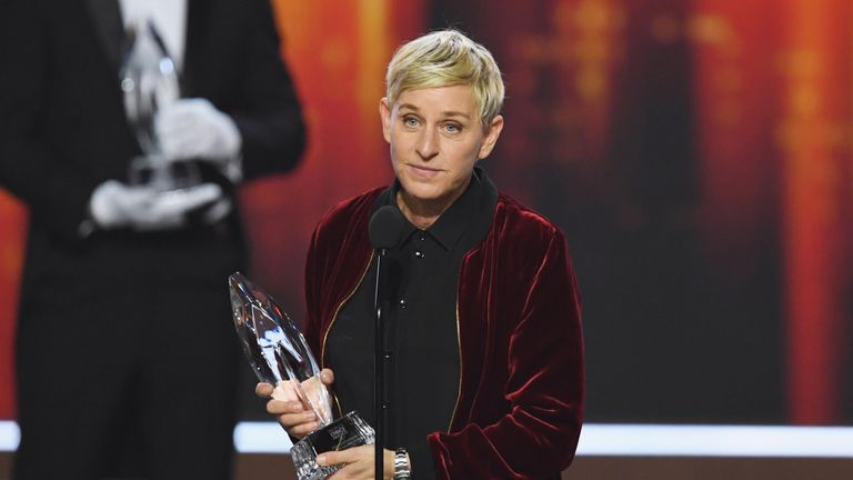 Ellen DeGeneres on stage during the People's Choice Awards 2017 at Microsoft Theatre on January 18, 2017 in Los Angeles, California.