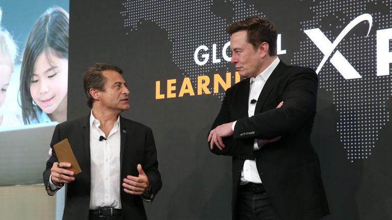 Peter Diamandis, founder and executive chairman of XPRIZE and Global Learning XPRIZE sponsor Elon Musk attend the Global Learning XPRIZE Foundation Grand-prize Awards at Google Playa Vista Office on May 15, 2019 in Playa Vista, California