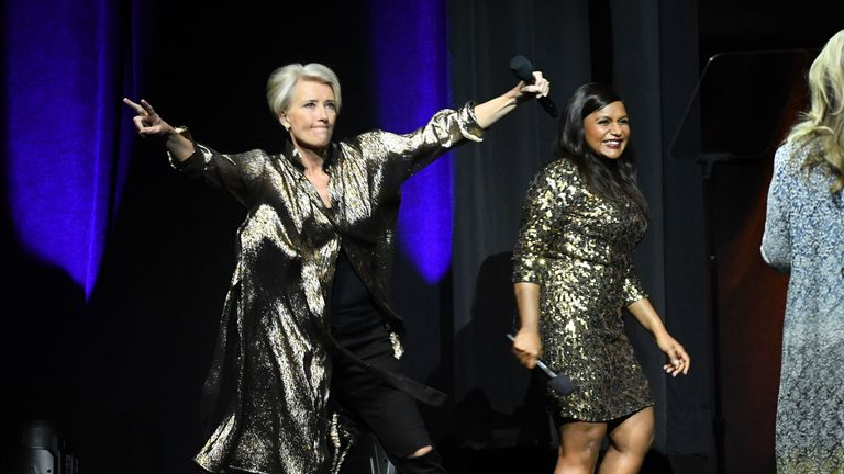 Emma Thompson (L) and Mindy Kaling (R) promoting Late Night in Las Vegas in April