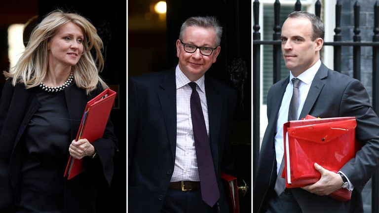 Esther McVey, Michael Gove and Dominic Raab are vying for the Tory leadership