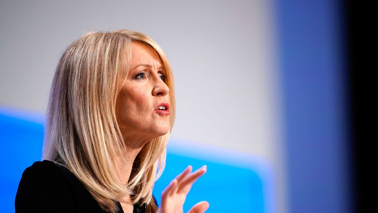BIRMINGHAM, ENGLAND - OCTOBER 01:  Britain's Work and Pensions Secretary Esther McVey speaks during day two of the annual Conservative Party Conference on October 1, 2018 in Birmingham, England. This year it is being held against a backdrop of party division on Brexit.
