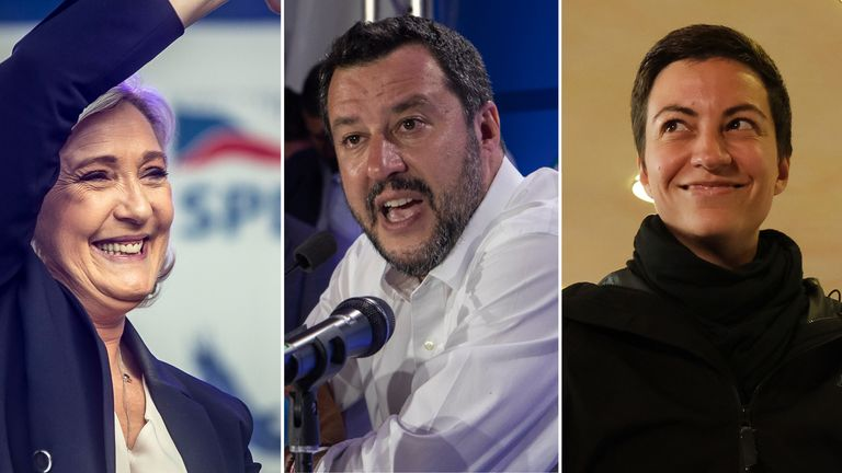 Marine Le Pen, Matteo Salvini and Ska Keller, co-lead candidate of the German Greens Party
