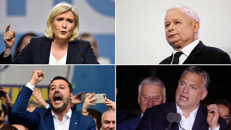 Marine Le Pen, PiS's Jaroslaw Kaczynski. Matteo Salvini and Viktor Orban