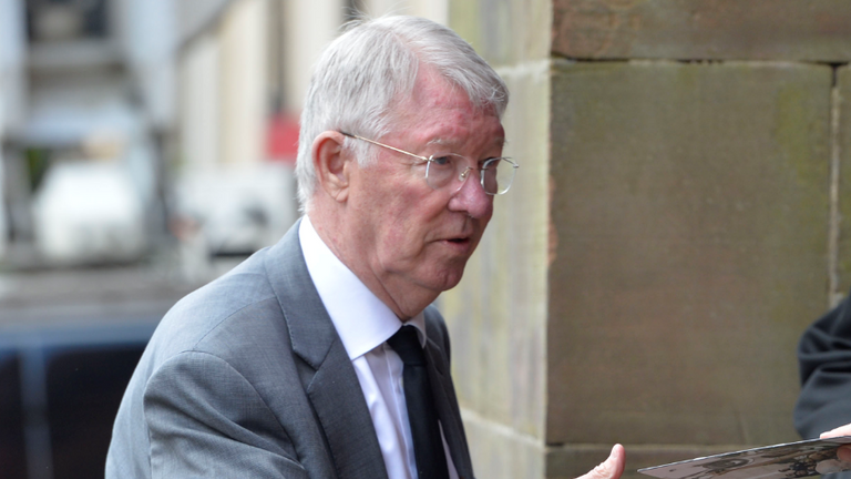 Sir Alex Ferguson was at the funeral to pay his respects