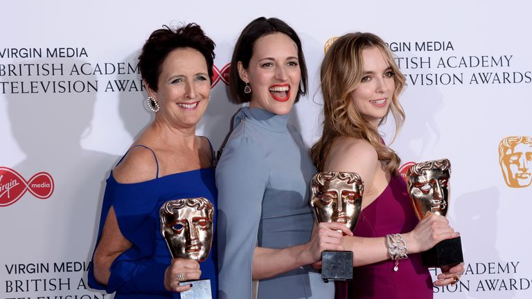 (L-R) Killing Eve's Fiona Shaw, writer Phoebe Waller-Bridge and Jodie Comer pose with their awards