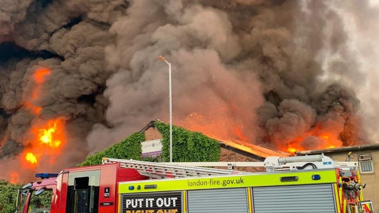 100 firefighters tackle warehouse blaze in north London