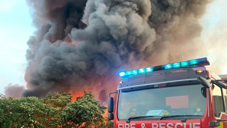 Local people are advised to keep their doors and windows closed.  Pic: Twitter/London Fire Brigade