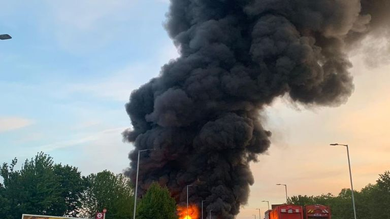 Fifteen fire engines were sent to the scene. Pic: Twitter/London Fire Brigade