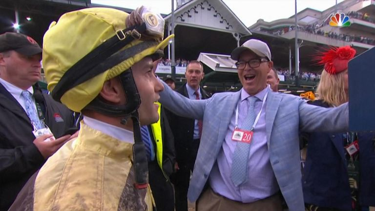 The moment Country House jockey Flavien Prat realises he and the horse had won the Kentucky Derby