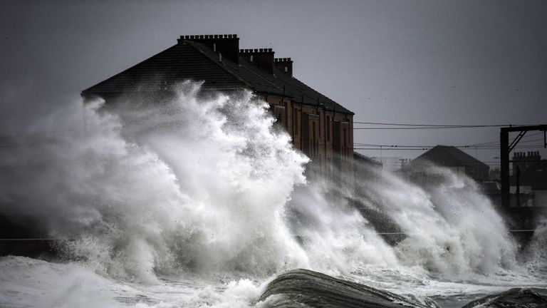 Waves crash in against the harbour wall on November 28, 2018 in Saltcoats, Scotland. Storm Diana is currently bringing torrential rain and 70mph winds to most of the country today triggering a Met Office severe weather warning and also potential flooding.