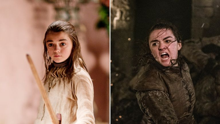 Arya Stark has grown into a brave warrior from the young teenager she was when Game Of Thrones began. Pic: HBO/ Sky Atlantic