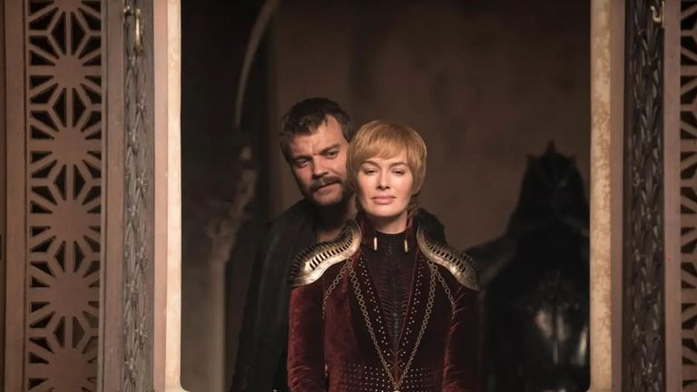 Lena Headey and Pilou Asbaek as Cersei Lannister and Euron Greyjoy in Game Of Thrones season eight. Pic: Sky Atlantic/ HBO