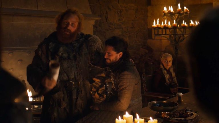 Game Of Thrones fans spotted an erroneous modern-day coffee cup in front of Daenerys Targaryen in season eight, episode four. Pic: Sky Atlantic/ HBO