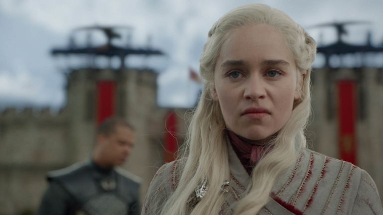 Emilia Clarke as Daenerys Targaryen: In the wake of a costly victory, Jon and Daenerys look to the south as Tyrion eyes a compromise that could save countless lives. Pic: Sky Atlantic/ HBO