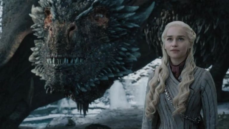 Emilia Clarke as Daenerys Targaryen in the eighth season of Game Of Thrones. Pic: Sky Atlantic / HBO