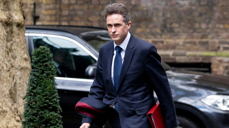 Britain's Defence Secretary Gavin Williamson arrives in Downing Street in London on March 14, 2019, ahead of a further Brexit vote