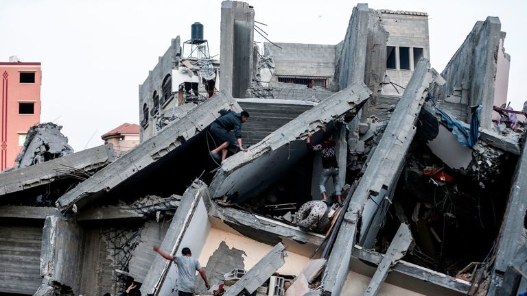 The remains of a building in Gaza City after it was hit during Israeli air strikes