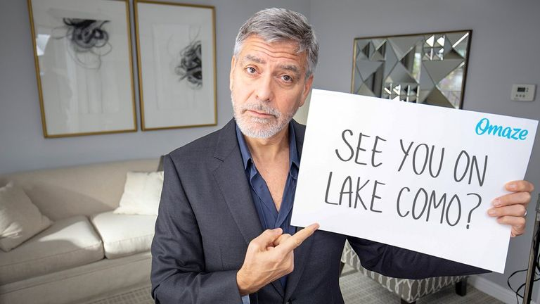 George and Amal Clooney are inviting fans to lunch. Pic: Omaze