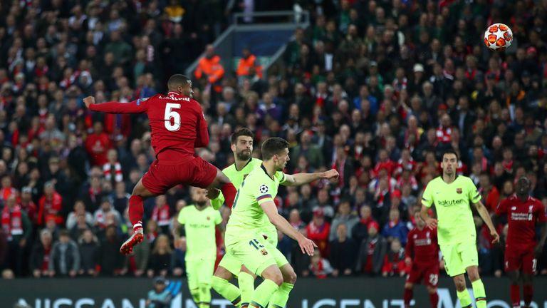 Wijnaldum rises highest to score Liverpool's third