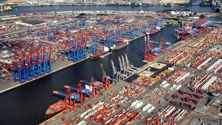 Aerial view of containers at a loading terminal in the port of Hamburg, Germany August 1, 2018.