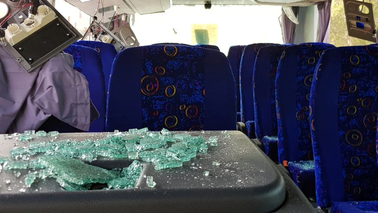 The inside of the bus after the blast