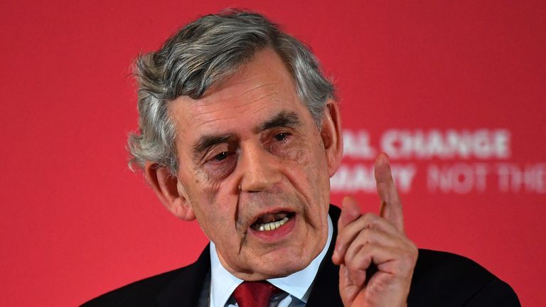 GLASGOW, SCOTLAND - MAY 20: Former Labour Prime Minister Gordon Brown, speaks at an European Parliament election campaign rally as he joins Scottish Labour leader Richard Leonard and the party's candidates at The Lighthouse on May 20, 2019 in Glasgow, Scotland. The former Labour leader urged voters to rally behind the party at a campaign event in Glasgow ahead of the European parliamentary elections this week. (Photo by Jeff J Mitchell/Getty Images)