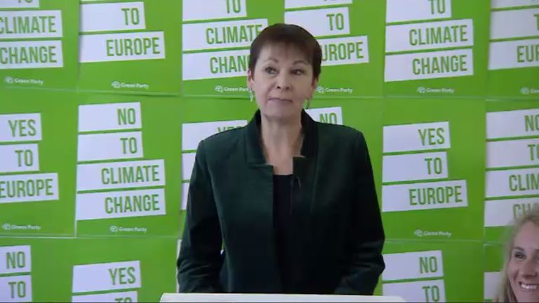 Green Party MP Caroline Lucas speaks at the launch of the party's European elections campaign