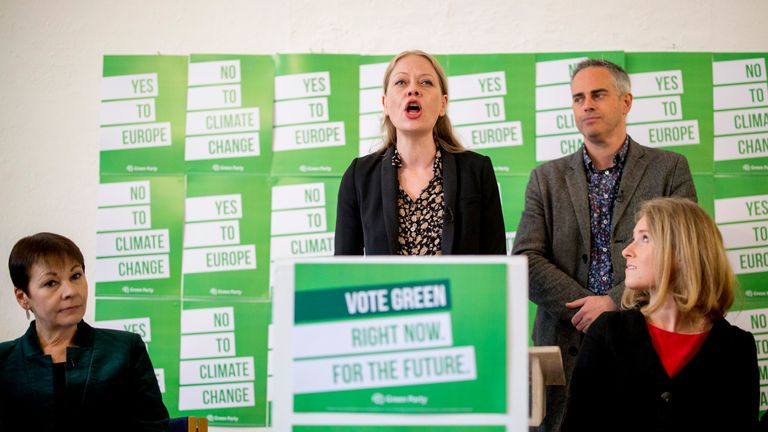 Green Party co-leader Sian Berry speaks during the launch of the Green Party's European election campaign