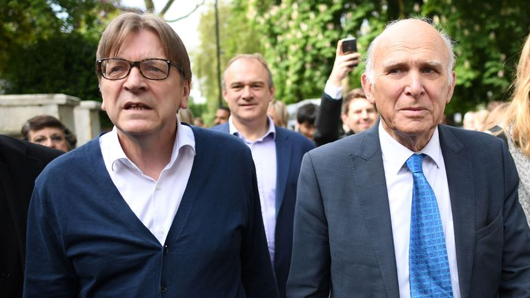 Guy Verhofstadt, joins Lib Dem leader Sir Vince Cable in Camden